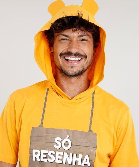 Camiseta-Masculina-Carnaval-Ursinho--So-Resenha--com-Capuz-de-Orelhinhas-Manga-Curta--Amarela-9482594-Amarelo_1