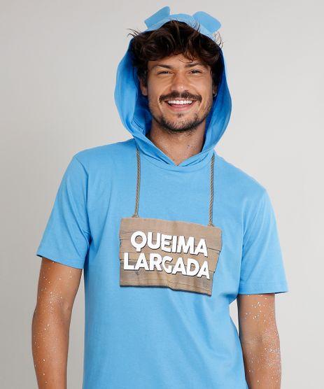 Camiseta-Masculina-Carnaval-Ursinho--Queima-Largada--com-Capuz-de-Orelhinhas-Manga-Curta--Azul-9482596-Azul_1