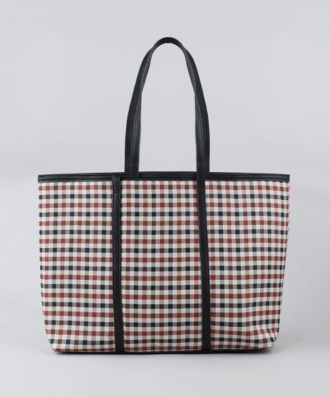 Bolsa-Shopper-Feminina-Estampada-Xadrez-Preta-9385566-Preto_1