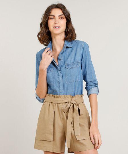 adf48d8347 Camisa Jeans Feminina com Bolsos Manga Longa Azul Claro - ceacollections