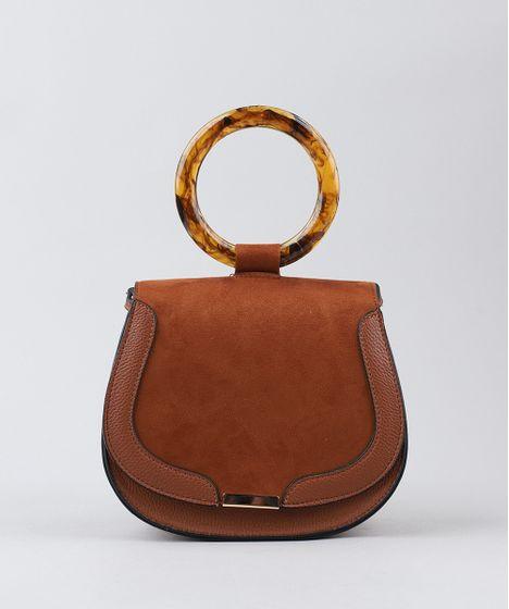 3e3503392 Bolsa Feminina Transversal com Argola de Acrílico Caramelo - cea