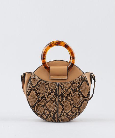 b4fc0b546 Bolsa Feminina Transversal com Argola e Estampa Animal Print Bege - cea