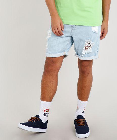 3dc077c1d8 Bermuda-Jeans-Masculina-Slim-Destroyed-Azul-Claro-9335201-