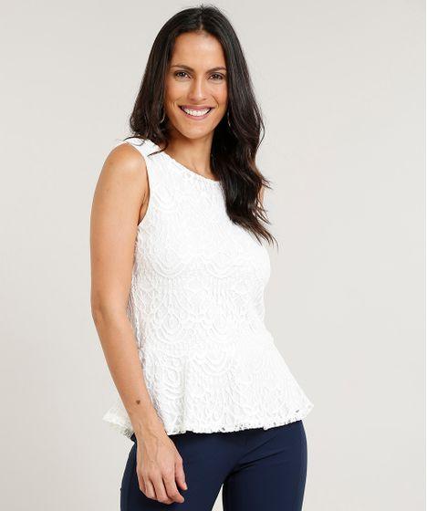 387c43915 Regata Feminina Peplum em Renda com Decote Redondo Off White - cea