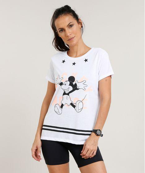 d239f67020 Blusa Feminina Esportiva Mickey Manga Curta Decote Redondo Branca - cea