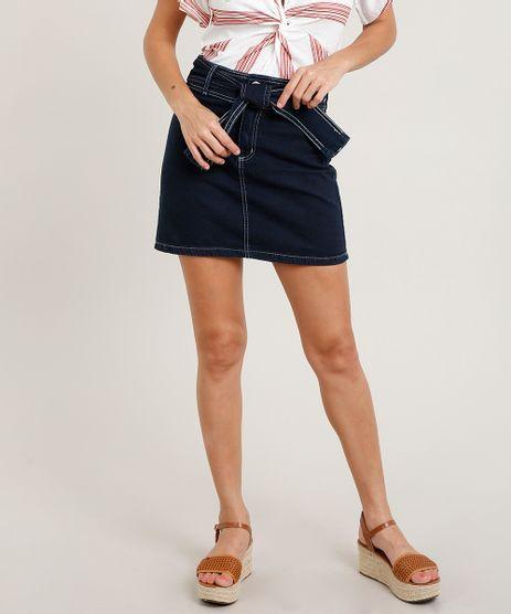 Saia-Jeans-Feminina-Curta-com-Faixa-para-Amarrar-Azul-Escuro-9481009-Azul_Escuro_1