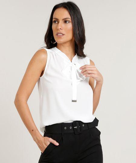 85724a985 Regata Feminina com Gola Laço Off White   Menor preço com cupom