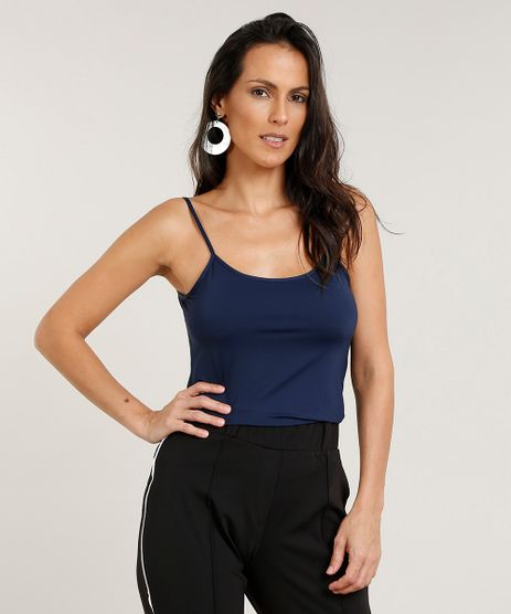 Regata-Feminina-Basica-Alcas-Finas-Decote-Redondo-Azul- bcad29b017a