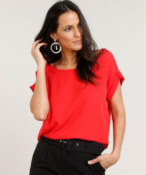 3420e10361 Blusa Feminina Ampla Manga Curta Decote Redondo Vermelha - cea