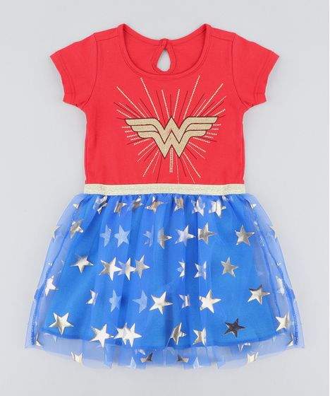 7bfaae41fc Vestido Infantil Carnaval Mulher Maravilha com Tule Estampado de ...