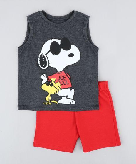 d8ae1e149a Conjunto-Infantil-Snoopy-de-Regata-Cinza-Mescla-Escuro-