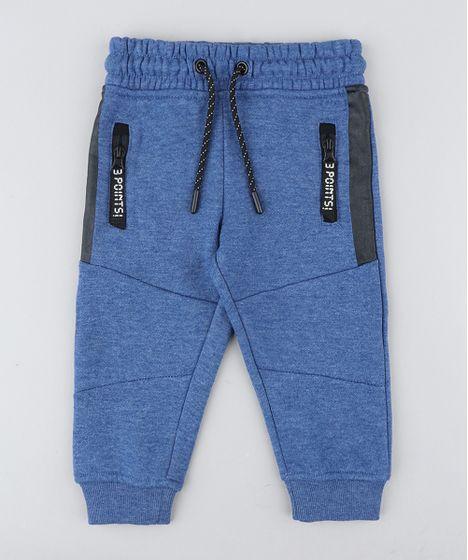 35e2b6352 Calca-Infantil-em-Moletom-com-Ziper-Azul-9358272- ...