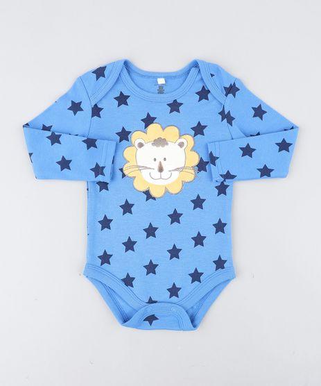 Body-Infantil-Leao-Estampado-de-Estrelas-Manga-Longa-Azul-9188445-Azul_1