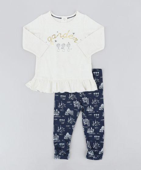 Conjunto-Infantil-de-Blusa--Garden--Manga-Longa-Bege-Claro-Mescla---Calca-Legging-Estampada-Azul-Marinho-9205049-Azul_Marinho_1
