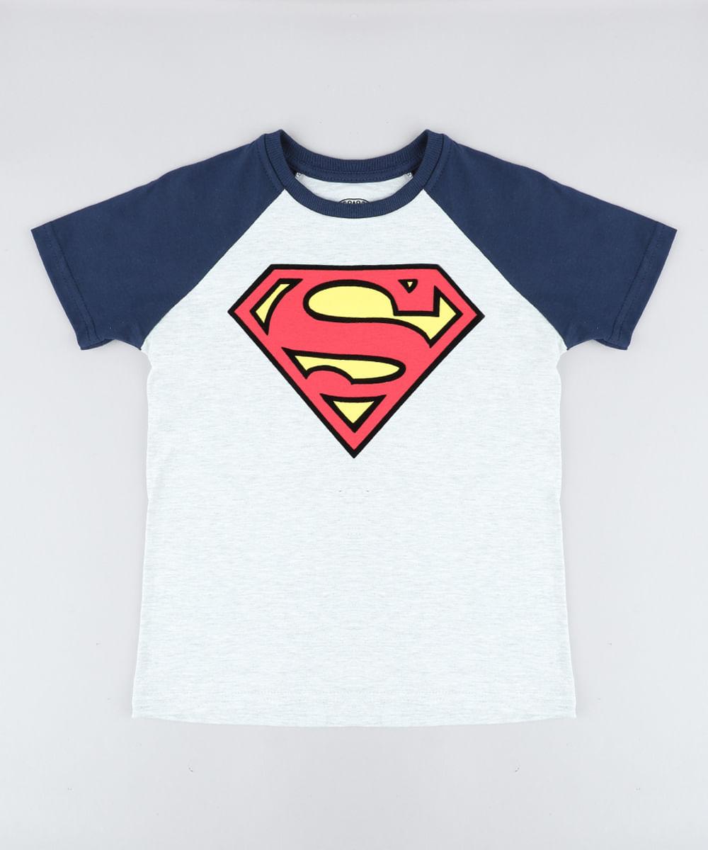 64282b83463ce Camiseta Infantil Super Homem Raglan Manga Curta Gola Careca Cinza ...