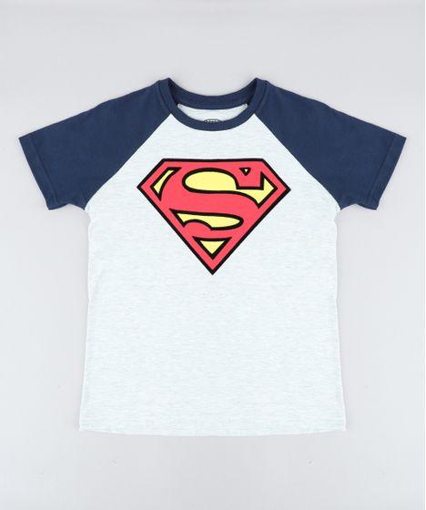bdf81961f Camiseta Infantil Super Homem Raglan Manga Curta Gola Careca Cinza ...