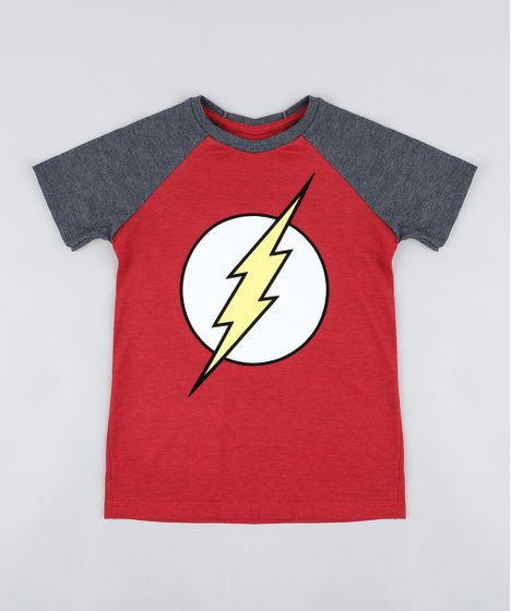 ce98b46be Camiseta Infantil The Flash Raglan Manga Curta Gola Careca Vermelha ...