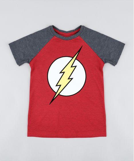 b5c7a4cec Camiseta Infantil The Flash Raglan Manga Curta Gola Careca Vermelha ...