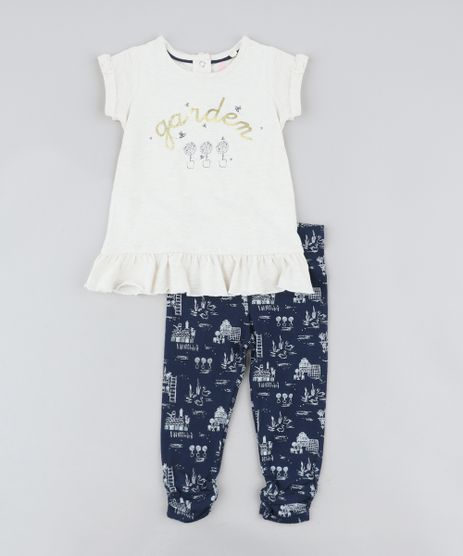 Conjunto-Infantil-de-Blusa--Garden--Manga-Curta-Bege-Claro-Mescla---Calca-Legging-Estampada-Azul-Marinho-9205050-Azul_Marinho_1