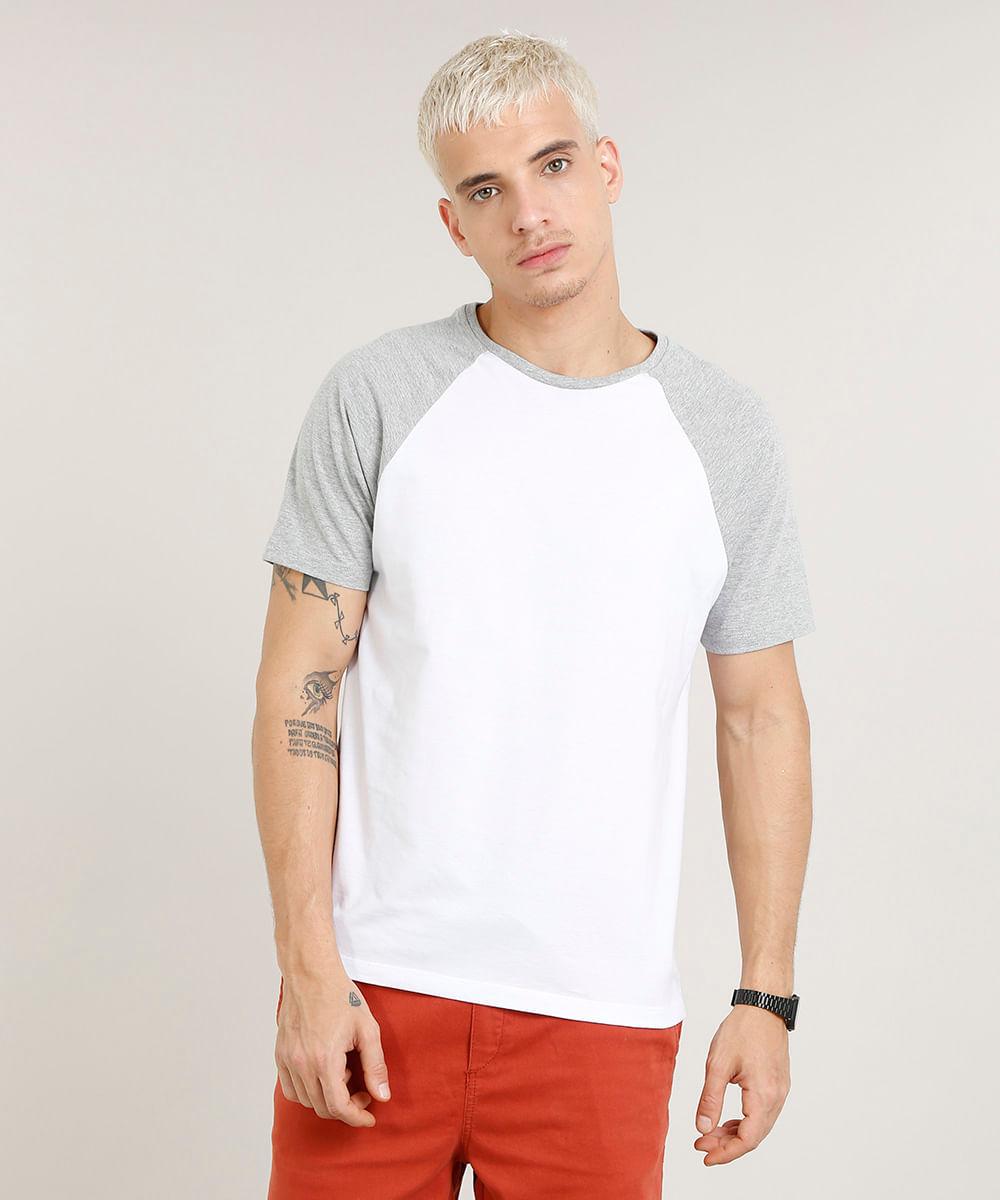 1b488e6b7f379 Camiseta Masculina Raglan Básica Manga Curta Decote Careca Branca - cea
