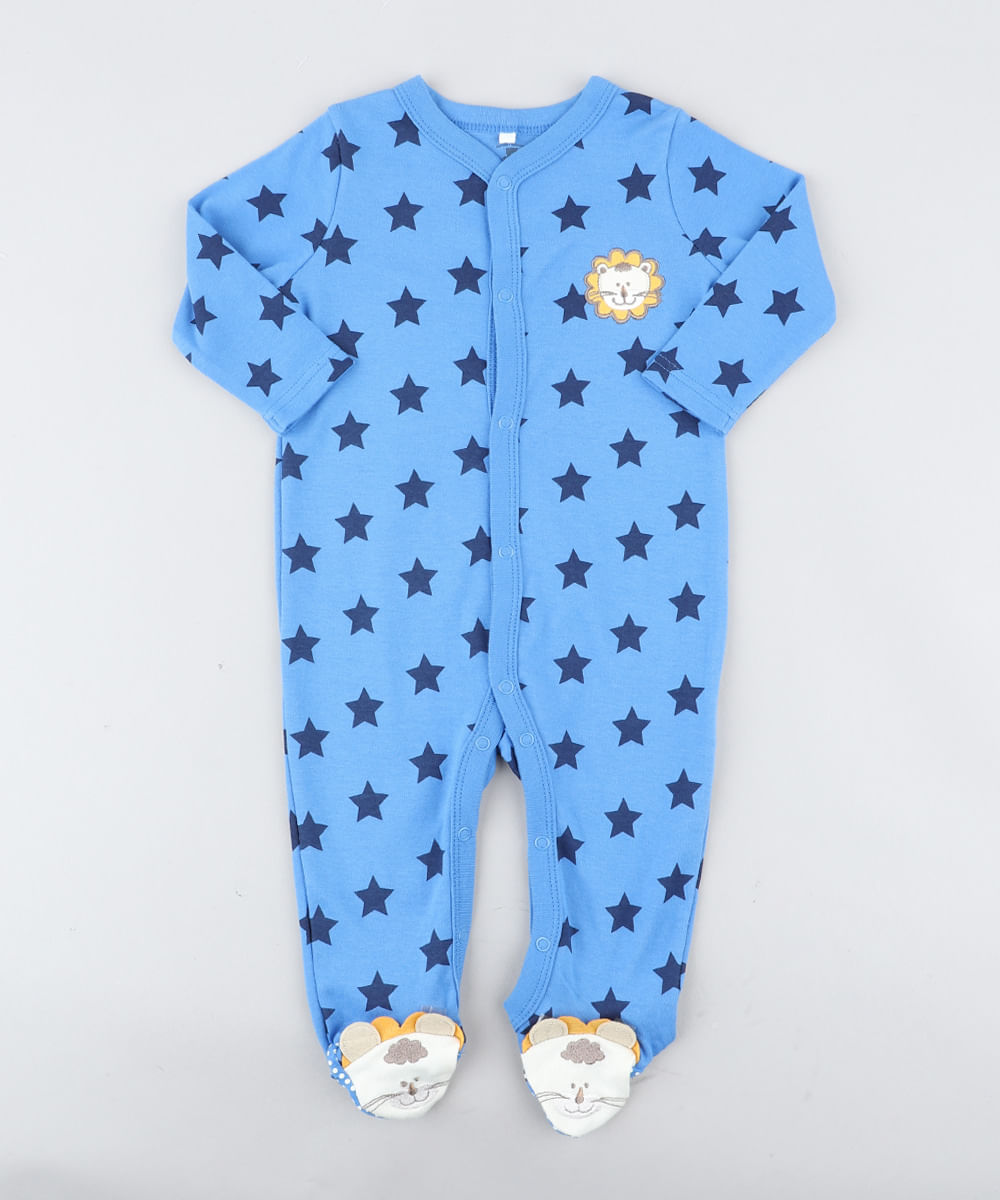 d6a2798d98 Macacão Infantil Leão Estampado de Estrelas Manga Longa Azul - cea