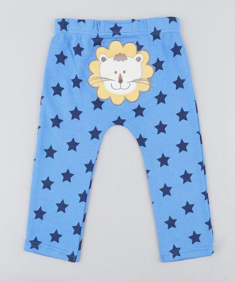 Calca-Infantil-Leao-Estampada-de-Estrelas-Azul-9188446-Azul_1
