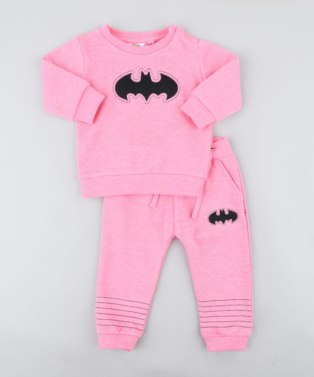 d0ca78296aff6 Conjunto Infantil Batgirl de Blusão + Calça em Moletom Rosa - cea