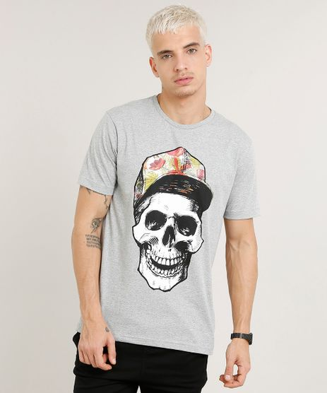 Camiseta-Masculina-Caveira-Manga-Curta-Gola-Careca-Cinza-Mescla-9286631-Cinza_Mescla_1