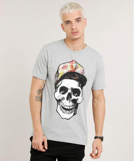 192be9733 Camiseta Masculina Caveira Manga Curta Gola Careca Cinza Mescla - cea
