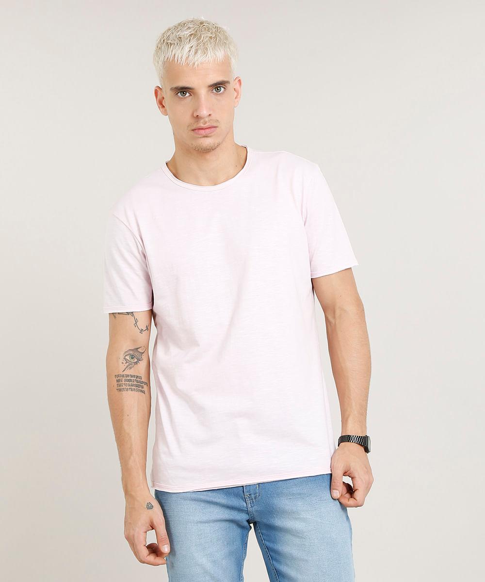 Camiseta Masculina Longa Manga Curta Gola Careca Rosa Claro - cea b1a943b4a19