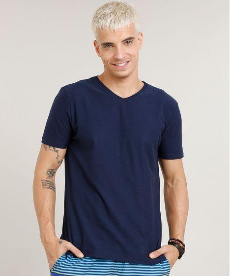 6fd65cd1a2 Camiseta Masculina Básica Flamê Manga Curta Gola V Azul Marinho - cea
