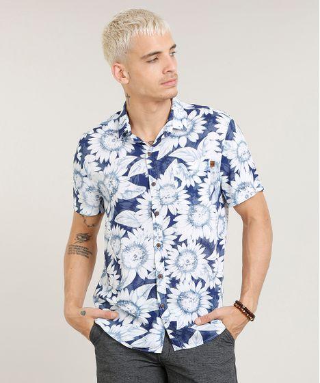 7adbbb2fe6 Camisa Masculina Estampada de Girassol com Bolso Manga Curta Azul - cea