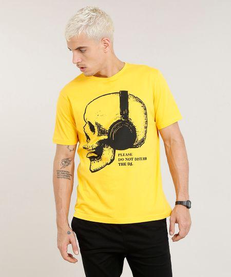 770fce95d Menor preço em Camiseta Masculina Caveira com Fone Manga Curta Gola Careca  Amarela