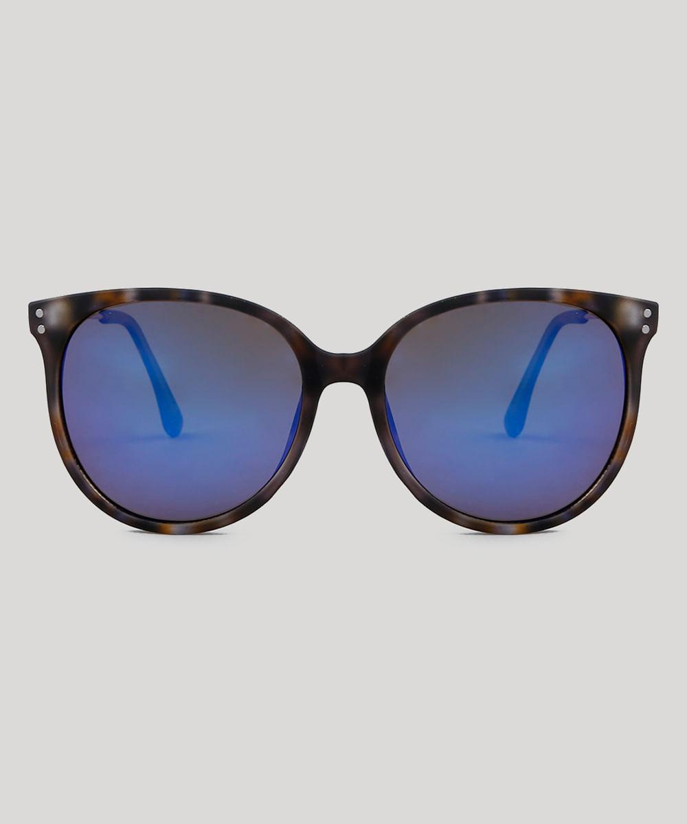 75b299bf9584e ... Oculos-de-Sol-Redondo-Feminino-Oneself-Tartaruga-9485630-