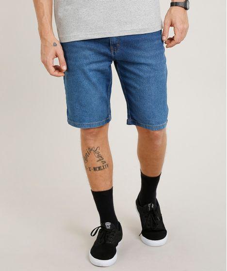 a5012c3d87af95 Bermuda Jeans Masculina Slim Azul Médio