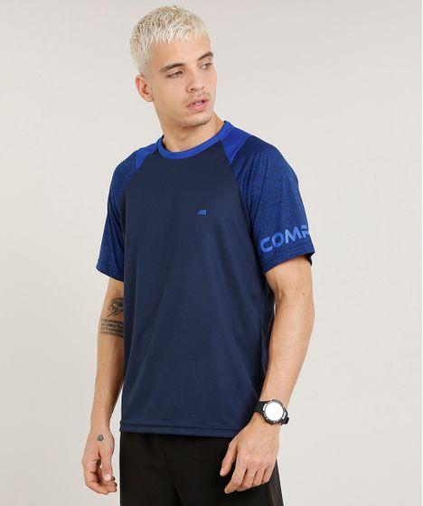 69130577dd Camiseta Masculina Esportiva Ace Raglan Manga Curta Gola Careca Azul ...