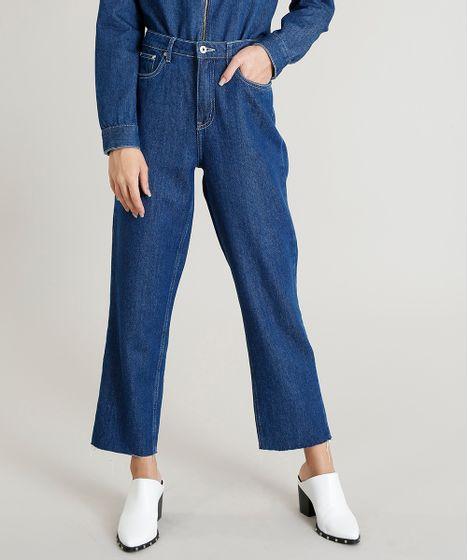 5c3579e0b Calça Jeans Feminina Mindset Reta Oversized Azul Médio - cea