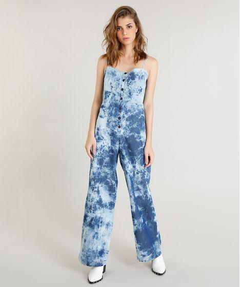 67e600c8fc Macacão Jeans Feminino Mindset Tie Dye com Botões Azul Médio - cea