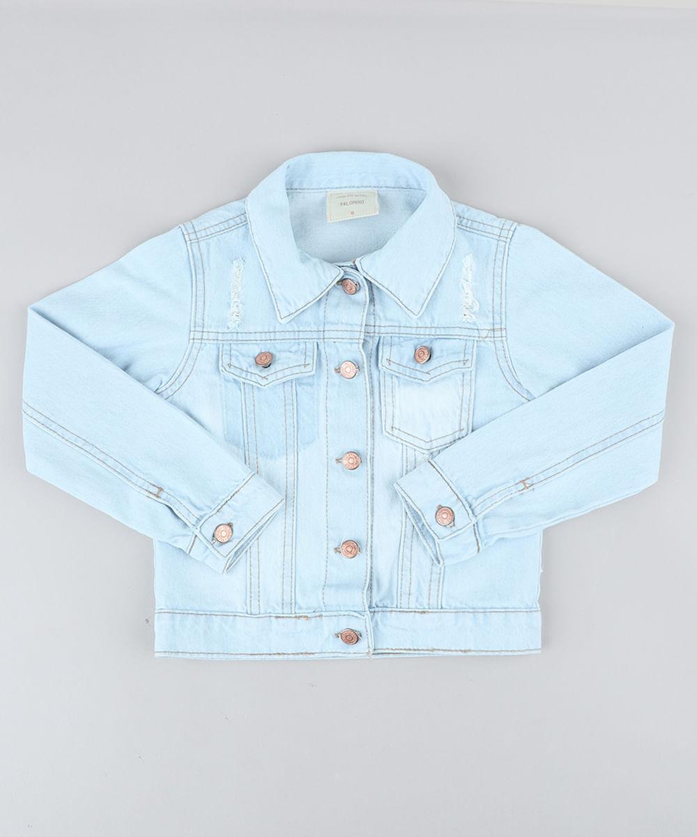 20f24671b25b9 ... Jaqueta-Jeans-Infantil-com-Puidos-Azul-Claro-8649302-