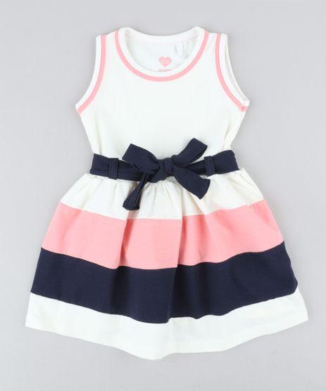 Vestido-Infantil-com-Laco-Sem-Manga-Decote-Redondo-Off-White-9236122-Off_White_1