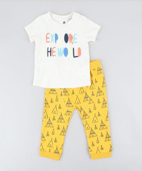Conjunto-Infantil-Camiseta-Manga-Curta-Bege-Claro---Calca-Estampada-de-Cabana-em-Moletom-Mostarda-9205087-Mostarda_1