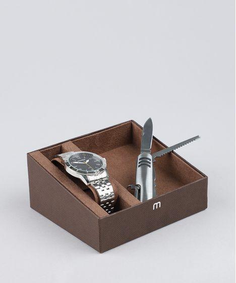 e73cfff9283 Kit de Relógio Analógico Mondaine Masculino + Canivete - 99147G0MVNE1KB  Prateado - cea