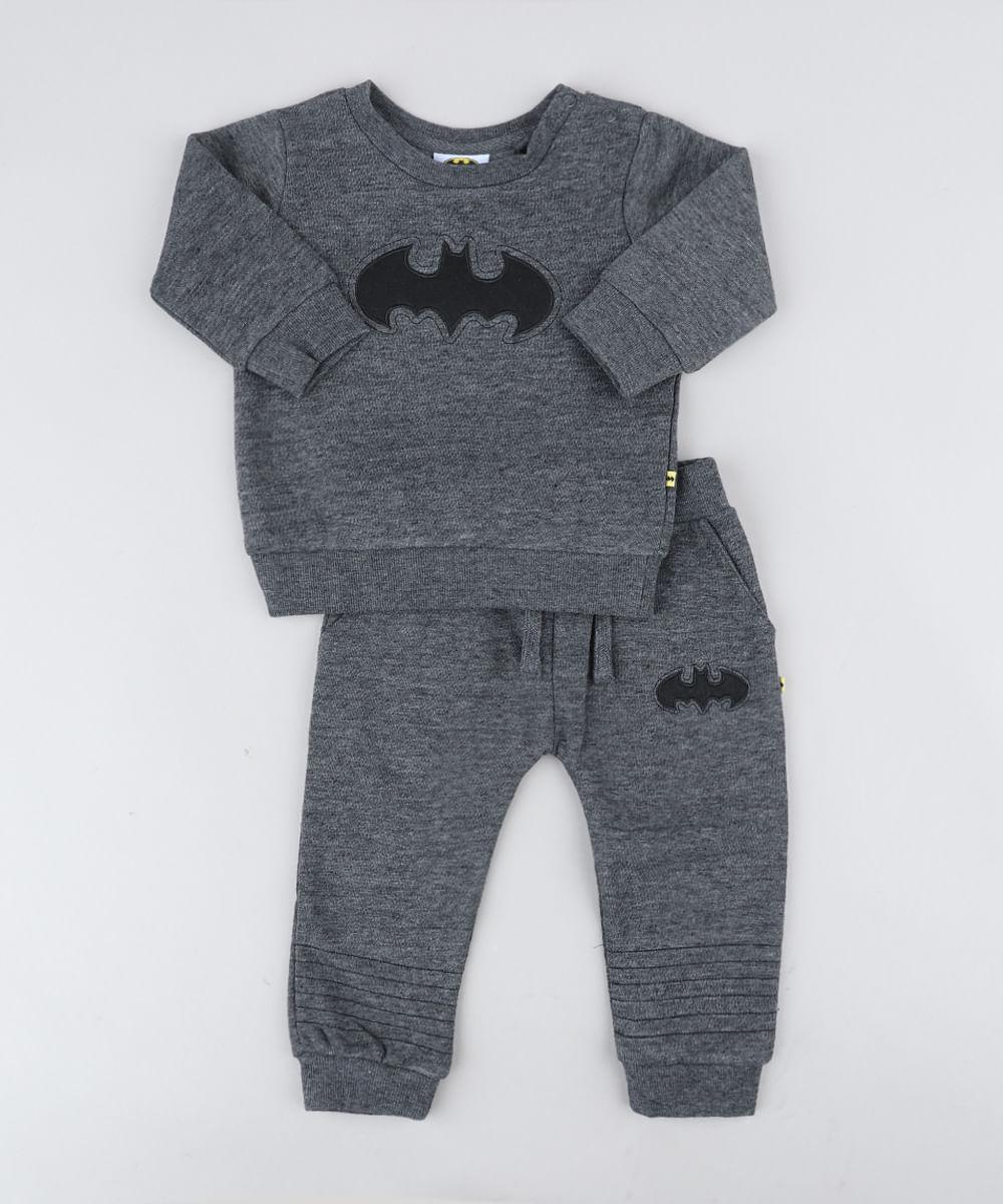 0c8a5e265a Conjunto Infantil Batman de Blusão + Calça em Moletom Cinza Mescla ...