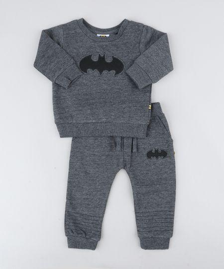 b07e4f9c95 Conjunto Infantil Batman de Blusão + Calça em Moletom Cinza Mescla Escuro