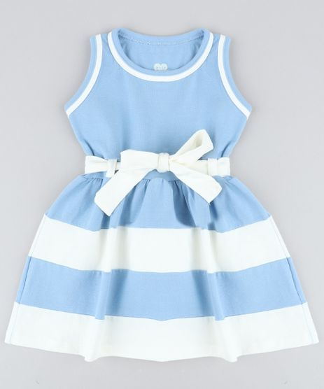 Vestido-Infantil-com-Laco-Sem-Manga-Decote-Redondo-Azul-Claro-9415473-Azul_Claro_1