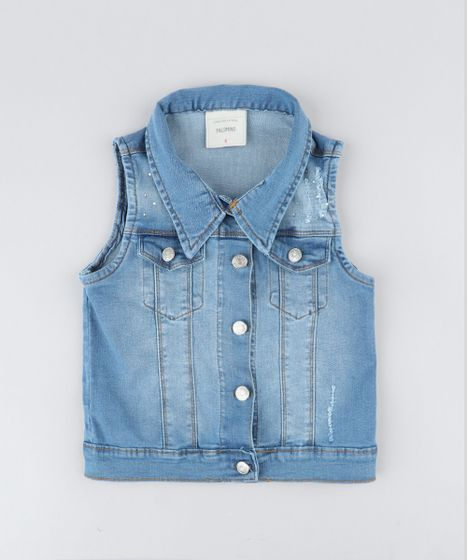 dbb2a5ea8 Colete-Jeans-Infantil-com-Strass-Azul-Claro-9416221- ...