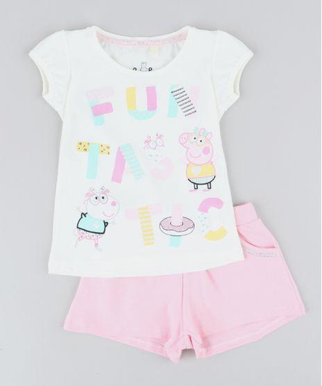 Conjunto-Infantil-Peppa-Pig-de-Blusa-Manga-Curta-Off-White---Short-Rosa-9437949-Rosa_1