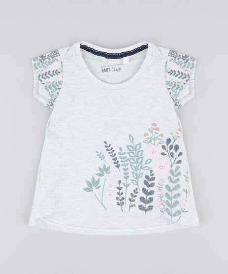 Blusa-Infantil-com-Estampa-Floral-Manga-Curta-Decote-Redondo-Cinza-Mescla-Claro-9429833-Cinza_Mescla_Claro_1