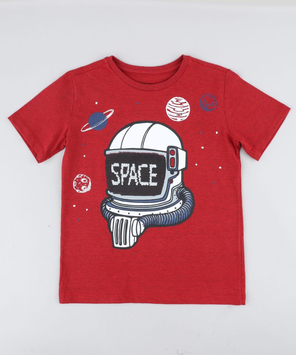 c966d95a05 Camiseta Infantil Astronauta com Paetê Dupla Face Manga Curta Gola ...