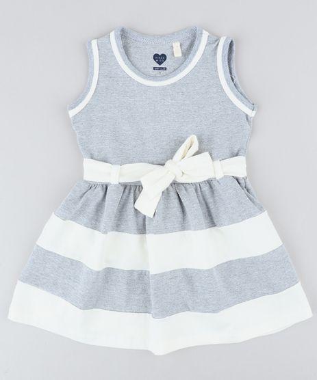 Vestido-Infantil-com-Laco-Sem-Manga-Decote-Redondo-Cinza-Mescla-9415471-Cinza_Mescla_1